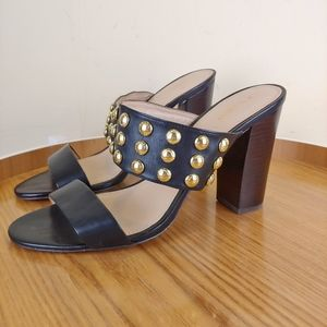 Coach Olivia Black & Gold Studded Heels